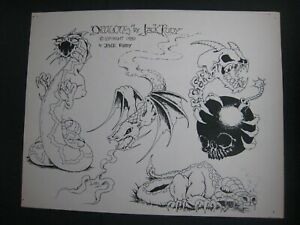 Vintage Parlor-used tattoo flash art ..11 x 14 in. ...Jack Rudy..1980...Dragons