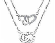 Sterling Silver Double Heart Two Layers Band Pendant Necklace Chain Gift Box L21