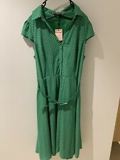 Review Size 16 Green Polka Dot Shirt Dress With Tags