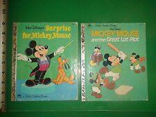 JD458 Vintage LOT of 2 Walt Disney Mickey Mouse Golden Books 1972 1974