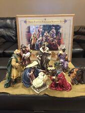 AMAZINGLY HUGE Hand Painted 9 PIECE CHRISTMAS NATIVITY SET w/LARGE FIGURES!