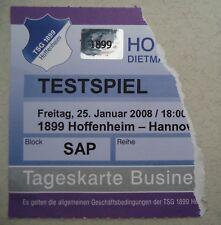 TICKET Friendly 25.1.2008 TSG 1899 Hoffenheim - Hannover 96