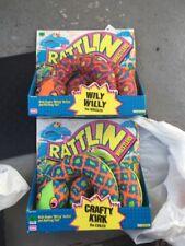 "Rattlin Wrestlers Plush 50"" Snake Puppet Playskool 1991 Crafty Kirk Wily Willy"
