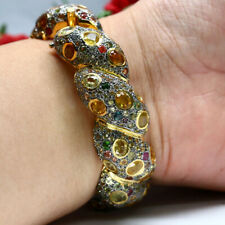 """NATURAL HEATED FANCY COLOR SAPPHIRE BANGLE CROSS 2.25"""" X 2.25"""" 925 SILVER"""