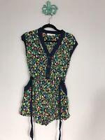Anthropologie Lilka Multicolor Floral Print Short Sleeve Short Romper Women's S