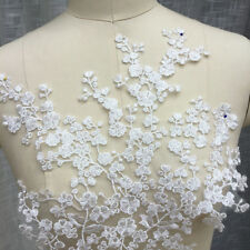 Floral Wedding Trim Embroidery Sew on Motif Ivory Bridal Lace Applique 1 Picec