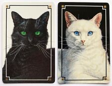 Pair of Vintage Swap/Playing Cards - GORGEOUS BLACK & WHITE CATS - MINT