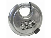 Combination Disc Padlock - 70mm Heavy Duty Large Padlock - Stainless Steel body