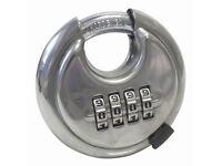 Combination Disc Padlock - 70mm Heavy Duty Large Padlock - Stainless Steel body