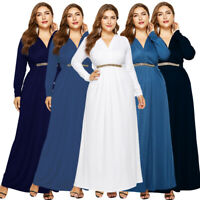 Plus Size Women Long Sleeve V-Neck Maxi Evening Party Dress Elegant Prom Gown