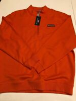 Vineyard Vines Mens Half Zip Collegiate Shep Shirt Orange French Terry Size L
