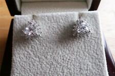 925 STERLING SILVER RHODIUM PLATED SIMULATED DIAMOND TRILLION STUD EARRINGS