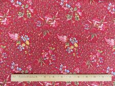 """REPRODUCTION FABRIC """"DARGATE POLYCHROMES"""" 1 YD RED MARGO KRAGER c.1830 ANDOVER"""