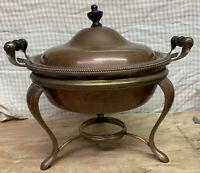 Vintage COPPER & BRASS SERVER BOILER Chafing Dish WARMER Fondue Pot