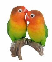 "5.3"" LOVE BIRD ON STUMP FIGURINE LIFELIKE BIRD HOME AND GARDEN DECOR"