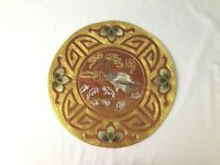 "Chinese Vintage Hand Embroidered Silk Blend Panel Crane in Water Design 11"" NOS"