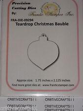 """FRANTIC STAMPER  - """"TEARDROP CHRISTMAS BAUBLE""""   FRA9294  FOR CARDS & SCRAPBOOK"""