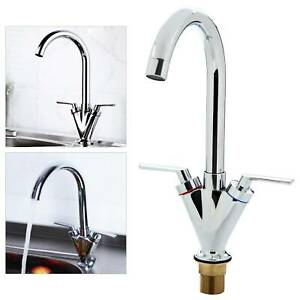 Modern Kitchen Sink Mixer Taps Swivel Spout Dual Handle Tap Mono Chrome Faucet