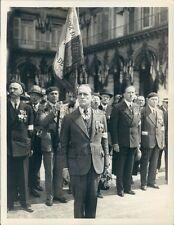 1934 Press Photo Colonel De La Rocque Croix De Feu Flag 1930s France