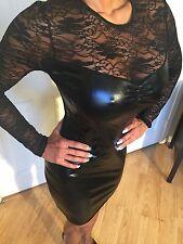 Long Sleeve Lace & Stretch Wet Leather look Black Mini Dress w/ Ultra Low Back S