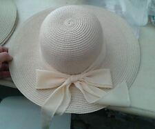 cappello beige elegante cerimonia taglia unica  paglia hat cocktail donna mare