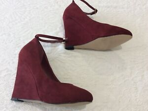 Kg by Kurt Geiger burgendy suede wedge heel ankle strap shoes size 37/4