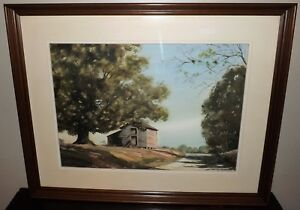 Vtg. Large Watercolor Painting Tobacco Barn Signed Quality Walnut Frame 38 x 31