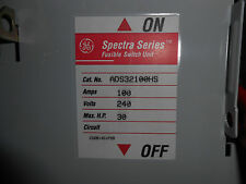 GE ADS32100HS 100 AMP 240 VOLT SPECTRA SERIES FUSIBLE SWITCH UNIT