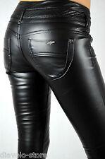 Damen Hose Kunst-Lederhose Jeans Röhrenhose schwarz slim fit Leder-Optik