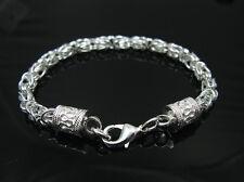 925Sterling Silver New Dragon Head Chain Men Women Bracelet 5MM 8inch HY096
