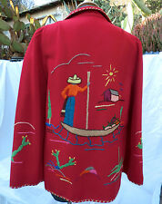 Early 1940s Mexican Folk Art Jacket -Hand Embroidered