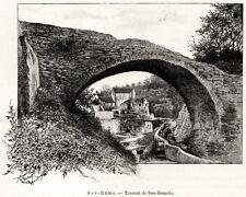 Sanremo: il Torrente San Romolo. Stampa Antica + Passepartout. 1889