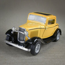 1932 Ford Coupe 1:34 Scale Die-Cast Vintage Model Car Open Suicide Doors Yellow