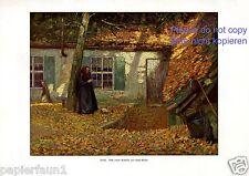 Herbst Kunstdruck von 1916 Erich Müller * Berlin † Harburg Laub Oma stricken
