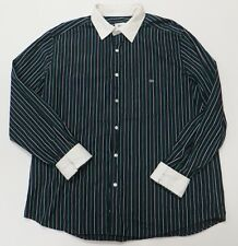 Lacoste Black Striped Shirt Size 45 Contrast Cuff Collar Long Sleeve