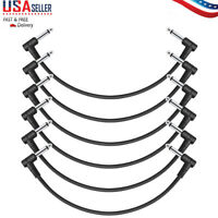 "Donner 6Pcs 12 Inch Right Angle 1/4"" Guitar Effect Pedal  Patch Cables Black US"