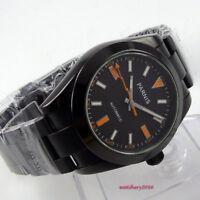 40mm Parnis Schwarz dial PVD orange marks Automatisch Movement Uhr men's Watch