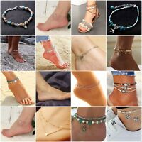 Boho Beaded Beach Anklets Silver Tone Womens Fashion Adjustable Ankle Bracelet