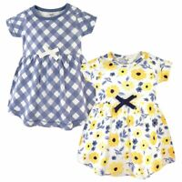 Touched by Nature Baby Organic Cotton Dress 2-Pack, Yellow Garden
