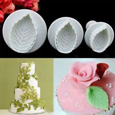 3pcsRose Leaf Fondant Cake Decorating Tool Sugarcraft Icing Cutter Mold Plunger