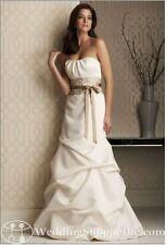 Mikaella Designer Wedding Dress Strapless Bubble Hem White Satin Lace 4 $1490