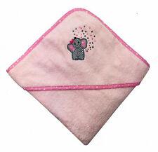 Baby Frottee Kapuzenhandtuch Badetuch mit Kapuze 100% Baumwolle 100x100 cm rosa