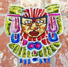 MEDIUM MULTI COLORED SEQUIN  MAYAN MASK APPLIQUE PATCH MEXICO W/ FREE SHIPPING