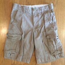 OLD NAVY Boys Kids Tan Brown Cargo Khaki Shorts Size 8 Slim Adjustable Waist EUC