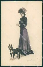 Clarence Underwood Lady and dog MM Vienne 337 postcard cartolina QT7040