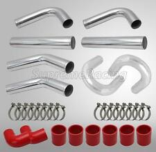 """2.5"""" CHROME ALUMINUM INTERCOOLER """"U"""" PIPING KIT w/ RED COUPLERS & T-BOLT CLAMPS"""