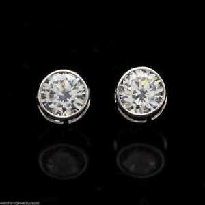 14k White Gold 2Ct Created Diamond Bezel Round Screw Back Stud Earrings