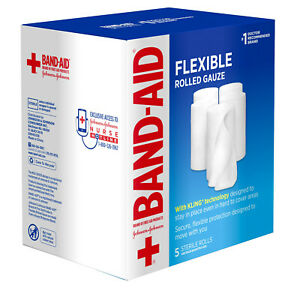 """Band Aid x5 3"""" FLEXIBLE ROLLED GAUZE STERILE ROLLS for Minor Cuts Scrapes Burns"""