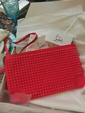CHRISTIAN LOUBOUTIN  LOUBIPOSH SPIKE CLUTCH SHOULDER BAG FUSCHIA $1095