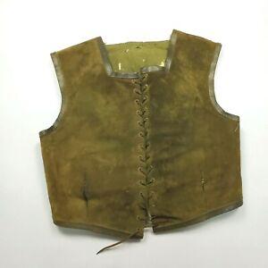 Vintage Damaged Medieval Renaissance Green Suede Vest